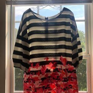 NWT Anthropologie Stripe & Floral Blouse Size XL
